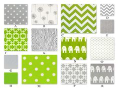 Lime Green and Gray Custom Crib Baby Bedding YOU DESIGN - Bright Forest Collection by RockyTopDesign on Etsy https://www.etsy.com/listing/23144616/lime-green-and-gray-custom-crib-baby