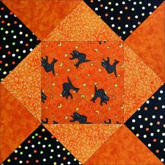 A great easy to make pre-cut quilt kit for anyone that loves Halloween, festive holiday quilts, black cats, or just cats in general, pets, the color orange, and festive holiday quilts. Features grey a