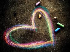 Sweet looking heart drawn with colorful chalk!