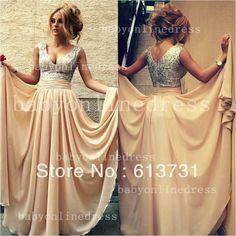 2014 New Arrival Elegant Evening Dresses V Neck Nude Chiffon A Line Sequined Top Prom Dresses Long BO3389 $139.00