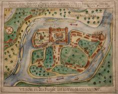 17e eeuwse gefantaseerde plattegrond van Utrecht in het jaar 1690. Vervaardiger onbekend. Collectie Beeldmateriaal H.A. Ab