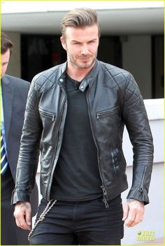David Beckham Wants to Revive Miami with Planned MLS Statum!: Photo David Beckham is a cool stud in a leather jacket while arriving at Miami Dade Community College to chat with reporters about his planned MLS soccer stadium on Monday… Black Leather Biker Jacket, Vintage Leather Jacket, Lambskin Leather Jacket, Leather Men, Real Leather, Sheep Leather, Cowhide Leather, Motorcycle Leather, Soft Leather