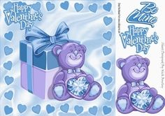 blue hearts and teddy bear 8x8 on Craftsuprint - View Now!