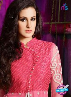 AZ 3406 Pink and Beige Silky Net Embroidered Function Wear Plazo Suit