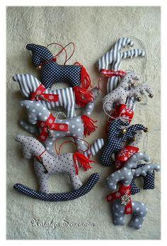 Новый год 2017 ручной работы. Ярмарка Мастеров - ручная работа. Купить Лошадки & Олени, игрушки на елку, горошки и полоски, новый год 2017. Handmade.