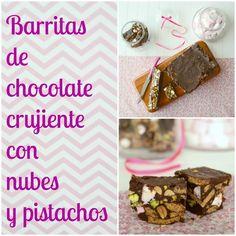 Barritas de chocolate crujiente con nubes y pistachos