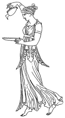 Ancient Greek redrawing. Empire waist derived from Classical dress. Redrawing of an ancient depiction of the Greek goddess Hebe