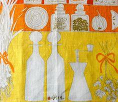 Vintage Vera Tea Towel Kitchen Pantry by Chixycoco on Etsy, £20.00