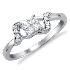 1/4 CT. T.W. Princess-Cut Quad Diamond Cascade Ring in 14K White Gold - Zales