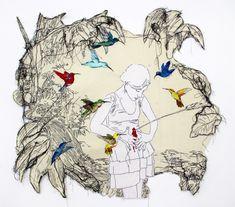 ANA TERESA BARBOZA: ANIMALES FAMILIARES Ceder ocasiona menos sufrimiento que resistir bordado en tela. 105 x 95 cm 2012