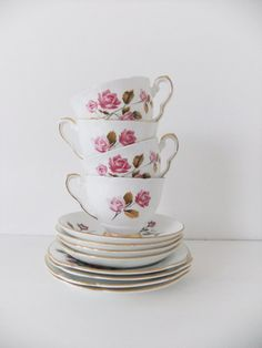 Vintage tea set - mixed cups, saucers and side plates - Royal Stafford and Duchess