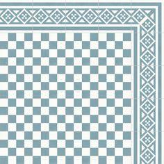 RIS 39 KR/ST, 975 KR/KVM.Traditionell cementgjuten golvklinker med 3-4 mm ytskikt av infärgad marmorkross. Tjocklek ca 20 mm. Frisplatta Hörn: Ramverk. Kulör: Blå Ljus/Vit.
