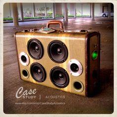 Handmade 1 of a kind - Suitcase Speaker by Case Study - Acoustics Diy Speakers, Bluetooth Speakers, Portable Speakers, Mobile Speaker, Dayton Audio, Powered Speakers, Audio Amplifier, Hifi Audio, Speaker Design