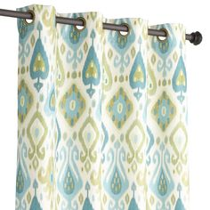 """Ikat Blue & Green 84"""" Grommet Curtain Turquoise"""