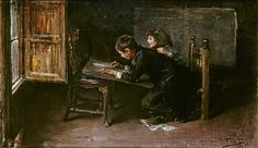 Ignacio Pinazo Camarlench - Boys Drawing [1890],  The artist's children posed for this painting. In a sparsely furnished room, the two brothers have fun together. Jose , the oldest, draws supported on a table, while Ignacio rests his hand affectionately on the back of his brother. The scene is an example of the type of intimate painting that the artist made throughout his life.