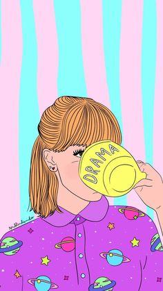 Pin by mackenzie wright on art & stuff wallpaper iphone, tum Tumblr Wallpaper, Drawing Wallpaper, Screen Wallpaper, Wallpaper Backgrounds, Hipster Wallpaper, Phone Backgrounds, Art Pop, Whatsapp Pink, Aesthetic Wallpapers