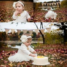outdoor cake smash in the leaves! one year old photography massachusetts