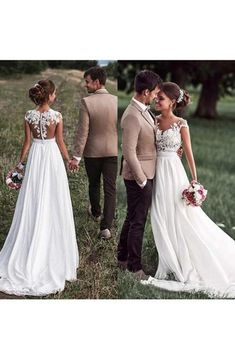 Off shoulder wedding dress - Lovely Simple Beach Lace Appliqued Cap Sleeves Chiffon Wedding Dress – Off shoulder wedding dress Wedding Gowns With Sleeves, Wedding Dress Chiffon, Rustic Wedding Dresses, Bridal Dresses, Simple Lace Wedding Dress, Wedding Simple, Backyard Wedding Dresses, Prom Dresses, Lace Chiffon