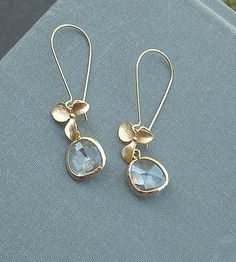 Gold Orchid earrings with gold trimmed glass by BijuBee on Etsy