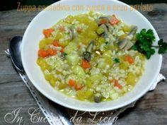 Zuppa contadina con zucca e orzo perlato http://blog.giallozafferano.it/incucinadalicia/zuppa-contadina-con-zucca-e-orzo-perlato/