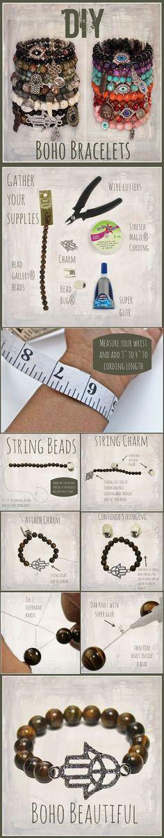 DIY Boho Beaded Bracelets: #WoodCraftsJewelryDiy