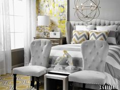 A cool and calm play on yellow and grey with simple shapes and rich textures.