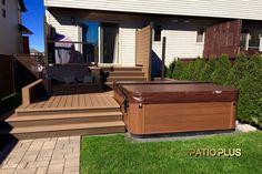 Patio et Spa Hot Tub Backyard, Hot Tub Garden, Backyard Patio, Outdoor Spaces, Outdoor Living, Outdoor Decor, Patio Plus, Steel Roof Panels, Pool Deck Plans