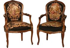 Tapestry Chairs, Pair  Condition: vintage, antique or gently used  Would like a pair of these.