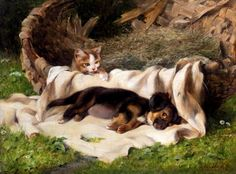 Couldery, Horatio Henry (b,1832)- Puppy & Kitten