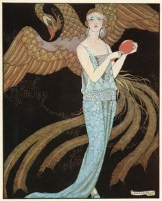 Blue Dress by Beer, George's Barbier. I love the Art Deco period.