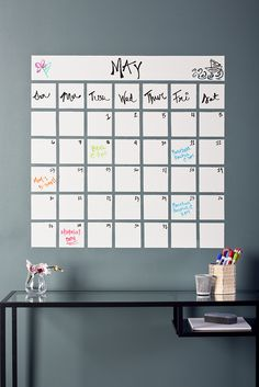 Captivating Calender - Combine the dry erase of this calendar with the style of the chalk board.now do they have the dry erase paint in another color with markers that will work? My New Room, My Room, Dry Erase Paint, Do It Yourself Inspiration, Diy Room Decor, Home Decor, Home Organization, Calendar Organization, Getting Organized