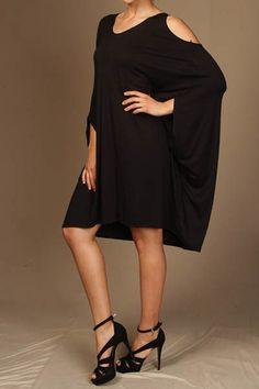 Open Shoulder Poncho Dress in Black, Coral, Grey or White