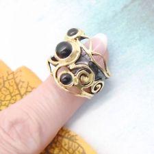 Onyx gold black schwarz gothic Design Ring Ø mm 925 Sterling Silber neu Gothic, Black Rhodium, Gold, Floral, Design, Jewelry, Silver, Ring, Black