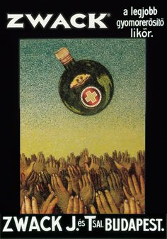 Unicum 🍃 In the USA, it's known only by the brewing family, Zwack. Hungary History, Central Europe, Illustrations And Posters, Where The Heart Is, Barista, Budapest, Vintage Posters, Folk Art, Alcohol