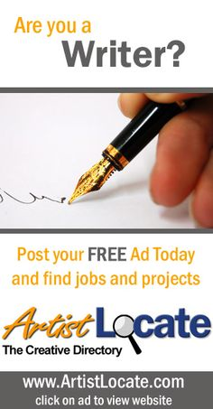 www.artistlocate.com - Are you a writer and want to make money? Post your ad on our site and receive jobs in projects for graphic and website design, programming, acting, singing and musicians, modelling, painting, photography and more! Creative Jobs, Free Ads, Find A Job, Programming, Musicians, Acting, How To Make Money, Singing, Writer