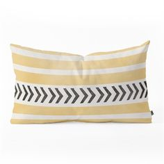 "DENY Designs ""Yellow Stripes and Arrows"" Oblong Throw Pillow by Allyson Johnson"