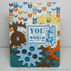 Gretchen Schmidt created this fun card by combining Pop 'n Cuts with the new stamp and die sets by Echo Park. Check out her tutorial to see it made step-by-step! http://sizzixblog.blogspot.com/2013/04/you-mean-world-to-me-pop-n-cut-card.html