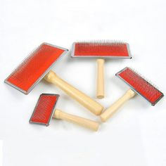 Pet Brush Wooden Handle Shedding Wool Carding Combs Hand Carders for Felting