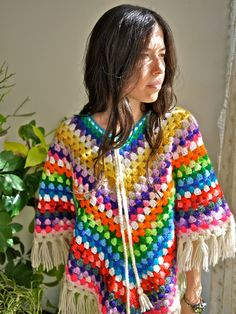Vintage 70s Afghan Crochet Rainbow Poncho via PrismOfThreads -- I made one of these in the early 70's and wore it everywhere!  LOL
