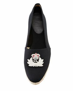 Christian Louboutin Gala Embroidered Crest Espadrille Loafer