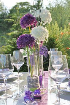 Tischdeko allium nur in Weiß