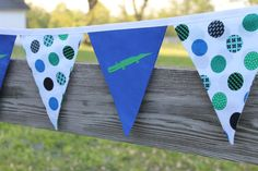 Blue  Green Alligator Dot Reusable Fabric Pennant Bunting for Nursery, First Birthday Party, Boy Baby Shower Decoration or Photo Prop on Etsy, $18.00