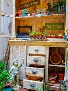 PORCH:  Potting Bench...storage for pots & potting soil...nothing fancy.