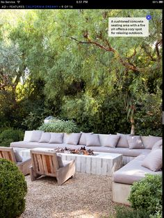 Patrick Dempsey's Malibu backyard - concrete lounge with cushions