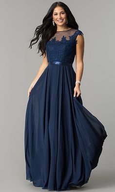 c2df2e646042a Long Embroidered-Bodice Cap-Sleeve Chiffon Prom Dress Formal Dresses With  Sleeves