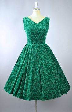 Vintage 50s Dress / 1950s Cotton Velvet Sundress LANZ Forest