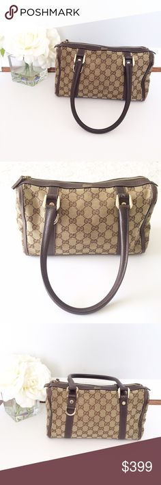 "GUCCI Boston Bag brown monogram canvas Authentic Cute small boston bag from Gucci. Very popular line! Brown and tan monogram canvas with brown lining. NOT INCLUDED IN BUNDLES! NO TRADES! Interior has one zip pocket and smaller pocket in opposite side. Canvas, bottom, interior and strap all in excellent condition. Only signs of wear is in the four corners towards bottom. Please see all the pictures. Width 11.5"", height 8"", Straps 6"" drop. I love this bag! Gucci Bags Satchels"