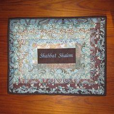 Shabbat Shalom Patchwork Jewish Challah Cover Aqua Elegance #Jewish gifts