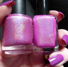 Comparison Request: Violet Holo - Enchanted Polish May 2013 vs Lilypad Lacquer Blooming Violets | Pointless Cafe
