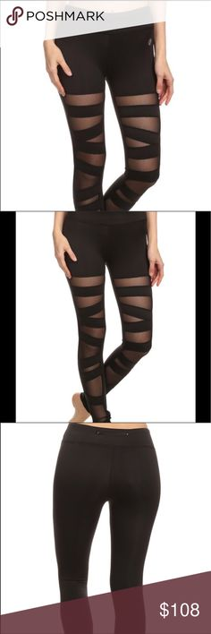 Sexy Mesh Ballerina Laceup Legging  Trendy Black legging with mesh straps design on front panel.  Can easily be worn from workout to brunch to running errands all looking stylish. Electric Yoga Pants Leggings